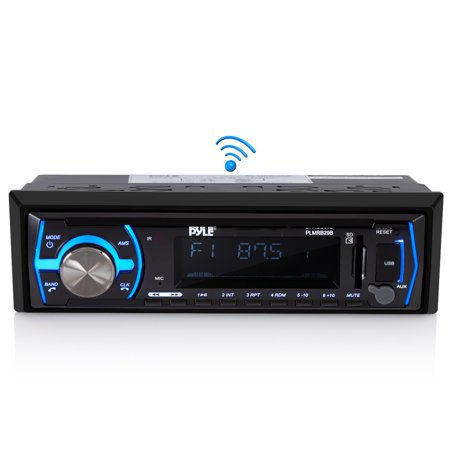 PYLE PLMRB29B - Marine Bluetooth Stereo Radio - 12v Single DIN Style Boat in Dash Radio Receiver System with Built-in Mic, Digital LCD, RCA, MP3, USB, SD, AM FM Radio - Remote Control -(Black) ()