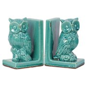 2-Pc Stoneware Owl Bookend in Glossy Turquoise
