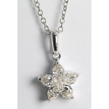 18k White Gold Invisible Setting Pear Cut Diamond Flower Pendant (0.76 Ct, H Color, SI2 Clarity)