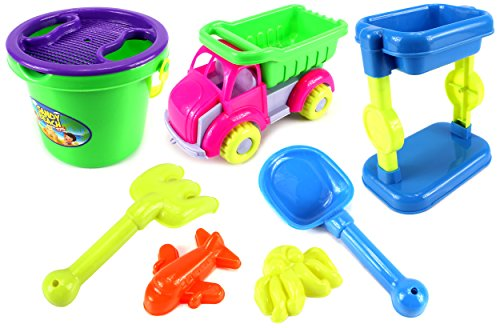 Sandy Beach Dump Truck Tower Children's Kid's Toy Beach Sandbox Playset w  Toy Truck, Bucket, Hand Tools, Sand Molds... by Sand Toys