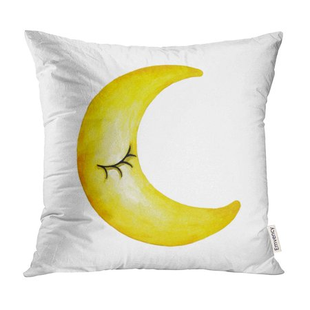 Crescent Face Cover (ECCOT Blue Antique Crescent Moon Face Watercolor Yellow Boho Cartoon Pillow Case Pillow Cover 18x18 inch )