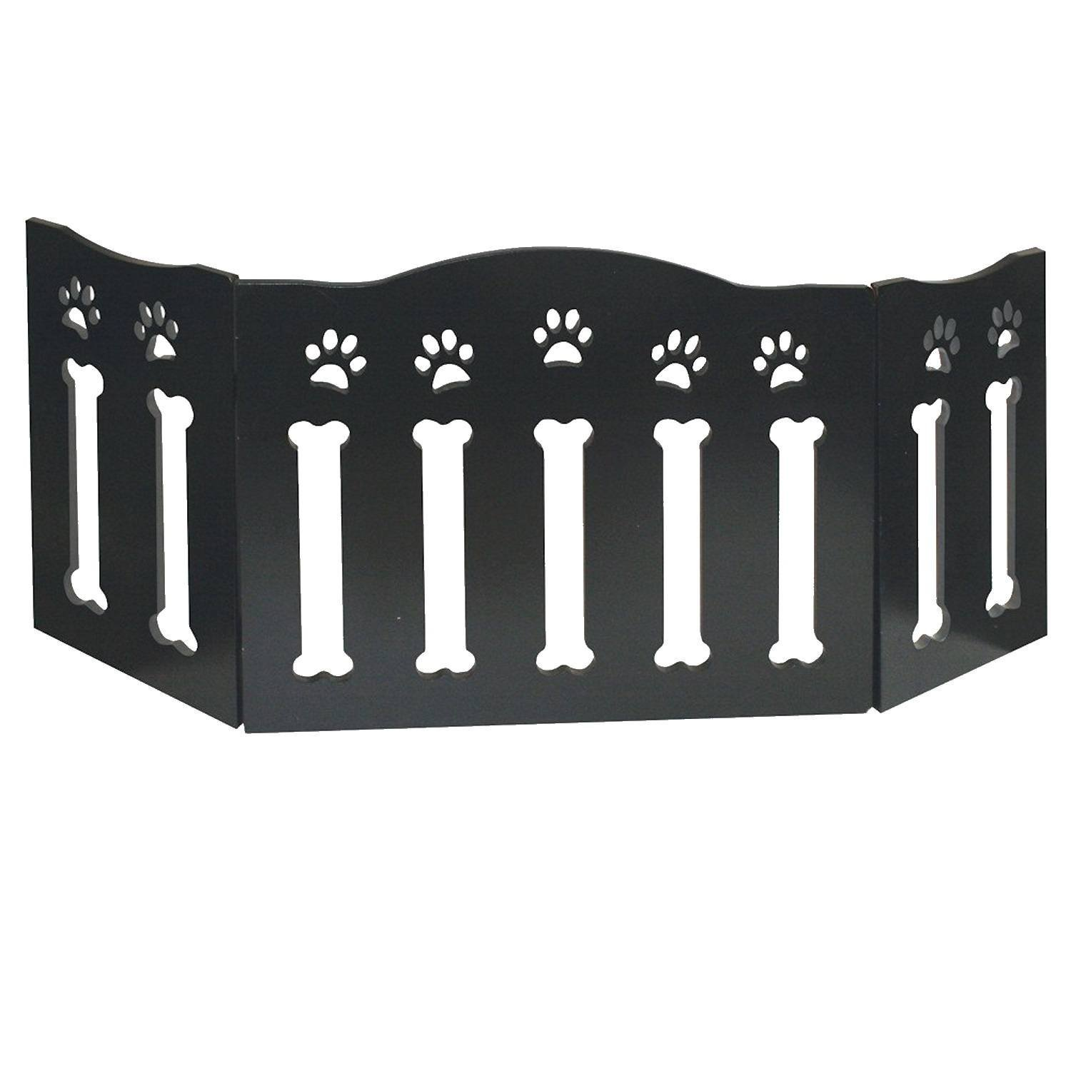 "Wooden Paws And Bones Pet Dog Gate - Free Standing Tri-Fold - 19"" Tall 47"" Wide By Etna"