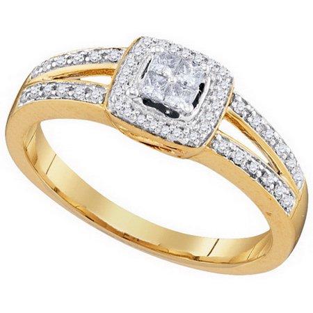10K Yellow Gold 0.20ctw Invisible Set Diamond Split Shank Cushion Fashion Ring