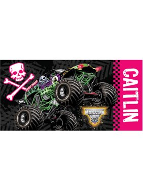 Personalized Monster Jam Grave Digger Pink Girls Beach Towel