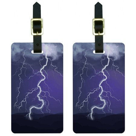 Lightning Storm Thunder Sky Weather Luggage Tags Suitcase Carry-On ID, Set of -