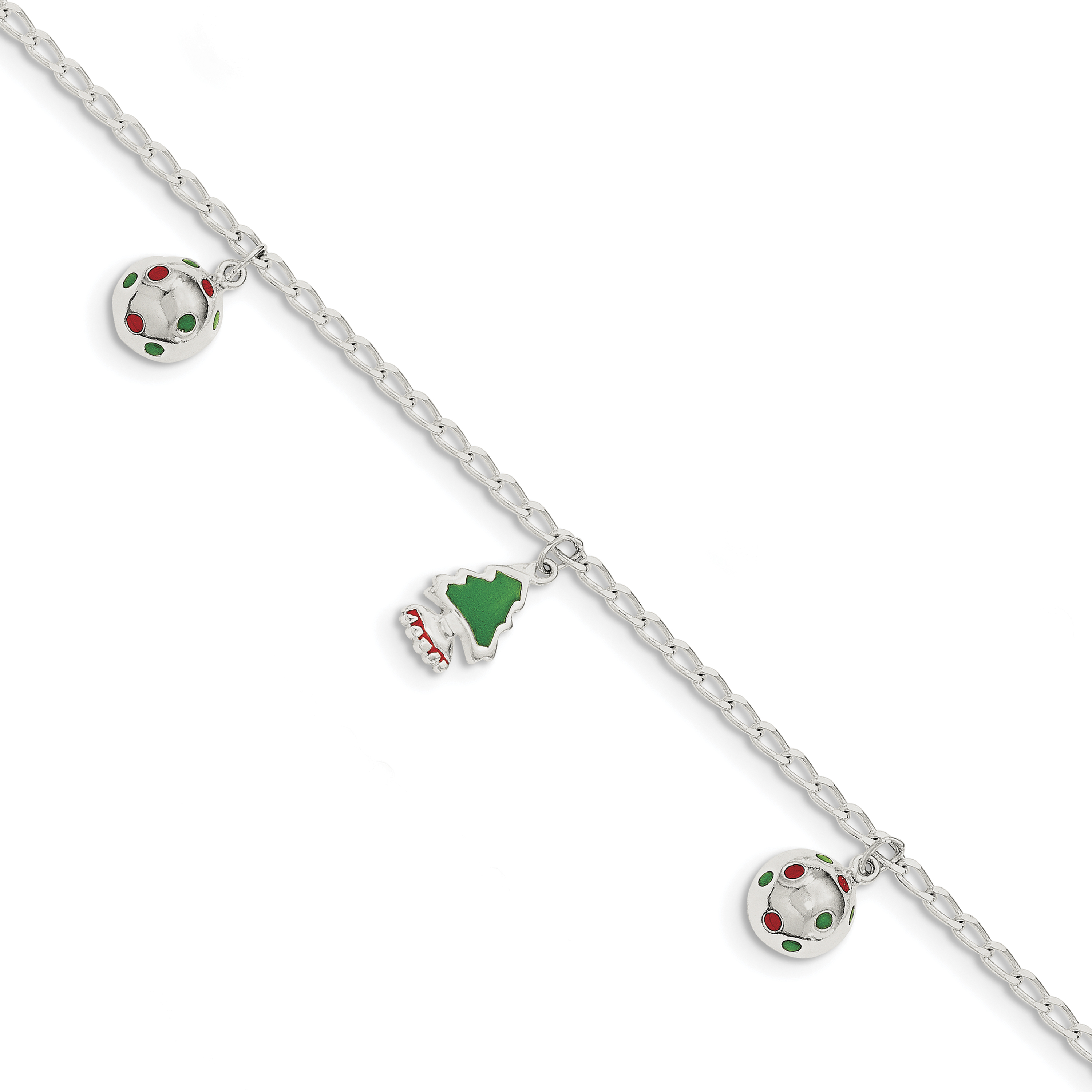 925 Sterling Silver Enamel Christmas Dangle Charm Bracelet 7.50 Inch Holiday Fine Jewelry Gifts For Women For Her - image 4 of 4