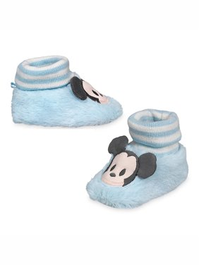 Disney Store Baby Boys Mickey Mouse Plush Slippers, Blue, 12-18 Months