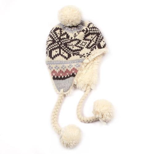 MUK LUKS Girl's Snowflake Faux Fur Helmet