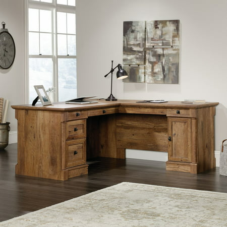 Sauder Palladia L-Shaped Desk, Vintage Oak - Palladia L-shaped Desk