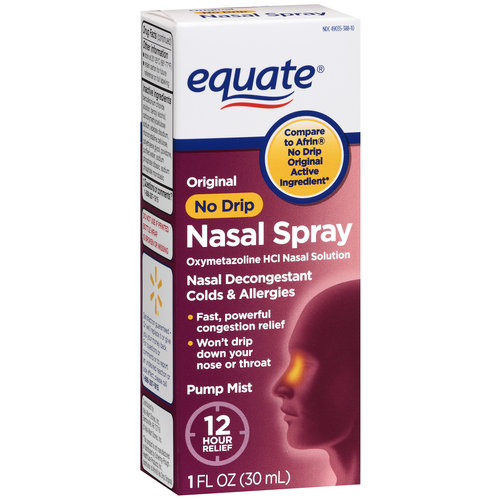 Equate: Oxymetazoline Hydrochloride 0.05% Nasal Decongestant/Original/No Drip/12 Hour Nasal Spray, 1 oz