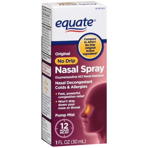Equate: Oxymetazoline Hydrochloride 0.05% Nasal Decongestant/Original/No Drip/12 Hour Nasal Spray, 1 oz