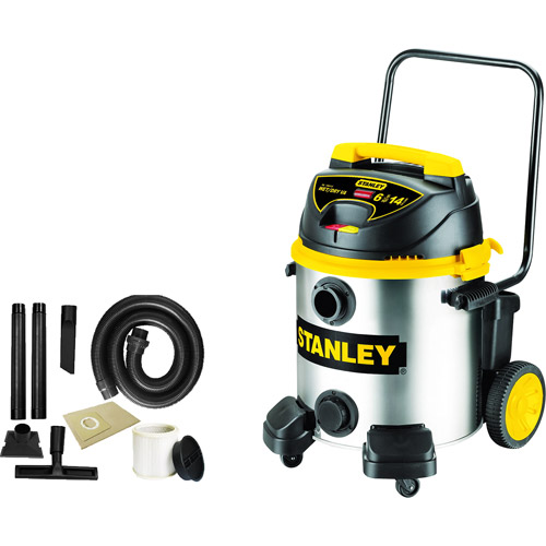 Stanley 14-gallon, 6.5-peak horse power, Stainless Steel, wet dry vacuum