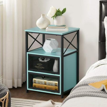VECELO BedSide Table Nightstand with Screen Door and Shelves,Blue
