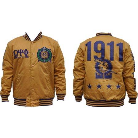 Omega Psi Phi Divine 9 Lightweight Mens Jacket  Old Gold   L