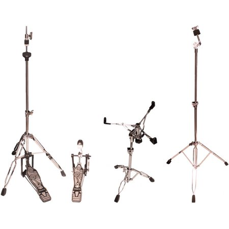 ChromaCast Double Braced Drum Hardware Pack, Includes: Hi-Hat Stand, Snare Stand, Cymbal Stand, and Chain Drive Pedal