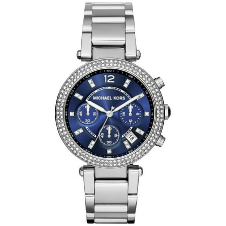 Michael Kors Women's Parker Chronograph Navy Dial Stainless Steel Watch MK6117