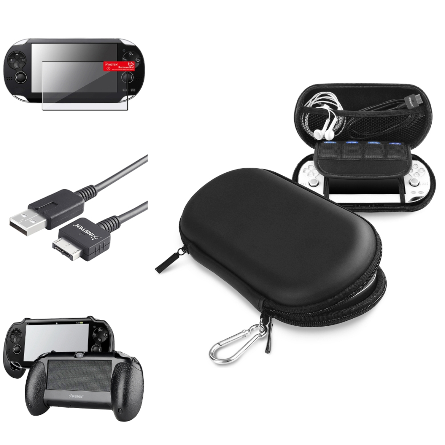 Insten Black Hand Grip+Screen Protector+Black EVA Case+USB Cable For Sony PS Vita PSV