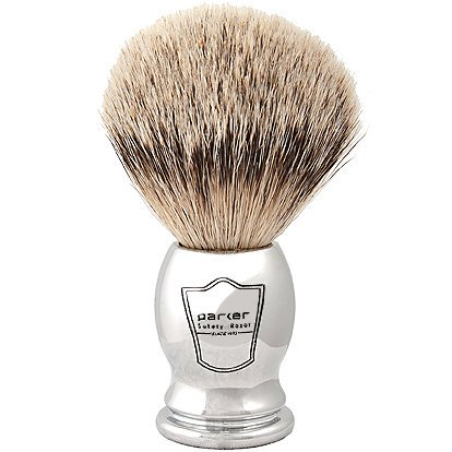 Parker Safety Razor 100% Silvertip Badger Bristle Shaving Brush (Chrome Handle) and Free Shaving Brush