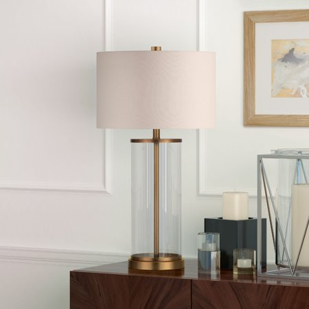Rowan Table Lamp in Glass and Antique Brass with Linen - Rowan Creative Linen