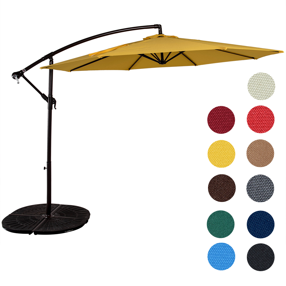 Sundale Outdoor 10 Feet Aluminum Offset Patio Umbrella with Crank, 8 Steel Ribs by Sundale Outdoor