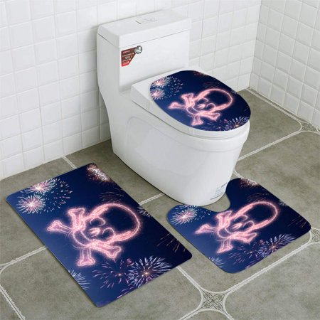 EREHome Night Sky Fireworks Shaped as a Skull Series 3 Piece Bathroom Rugs Set Bath Rug Contour Mat and Toilet Lid Cover - image 1 de 2