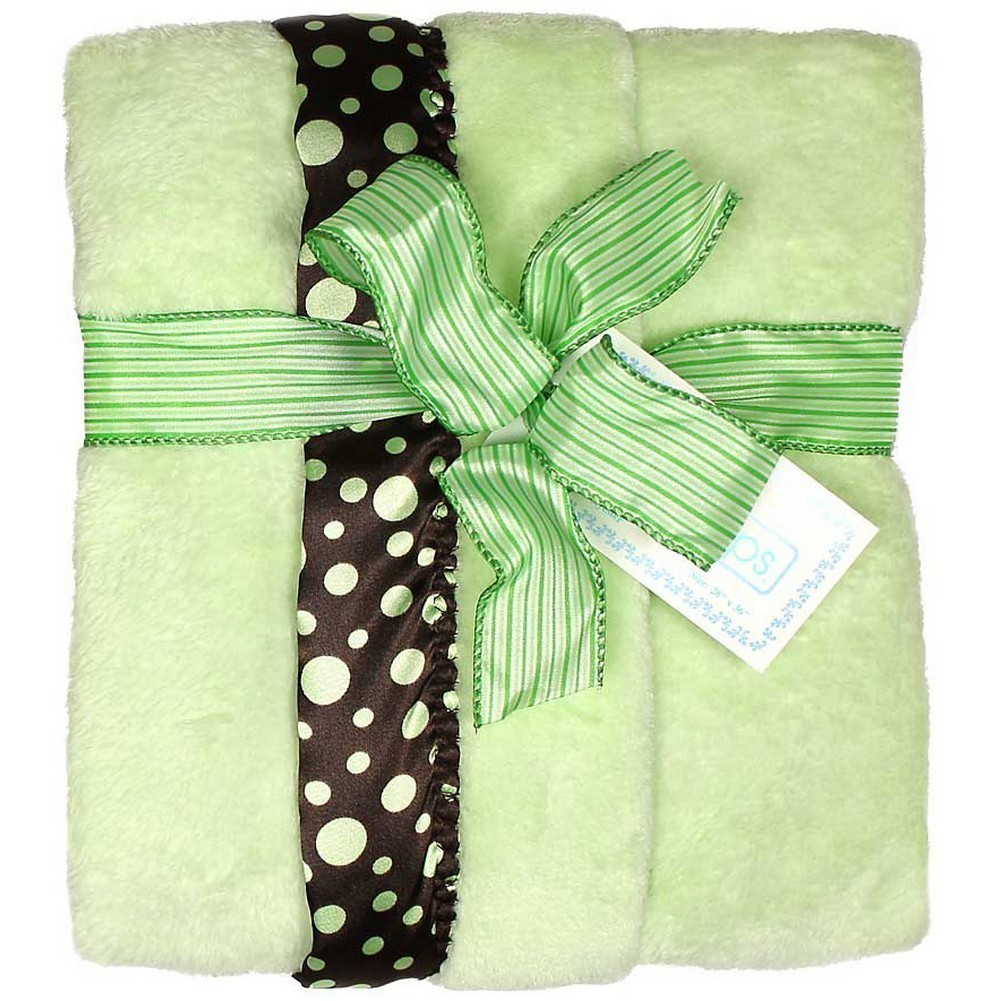 "Raindrops Unisex Baby Flurr Receiving Blanket, Brown With Sage Dots, 28"" X 36"" by Raindrops"