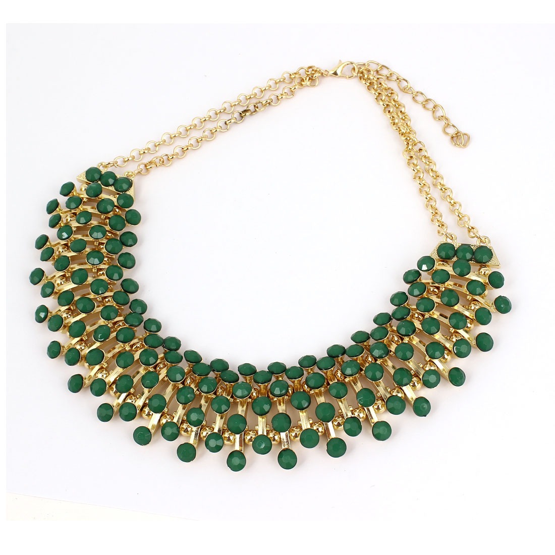 Ladies Acrylic Beads Decor Statement Chunky Collar Chain Bib Necklace Green
