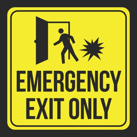 Aluminum Emergency Exit Only Print Yellow Black Person Open Door Caution Notice School Public Office Business Signs Co