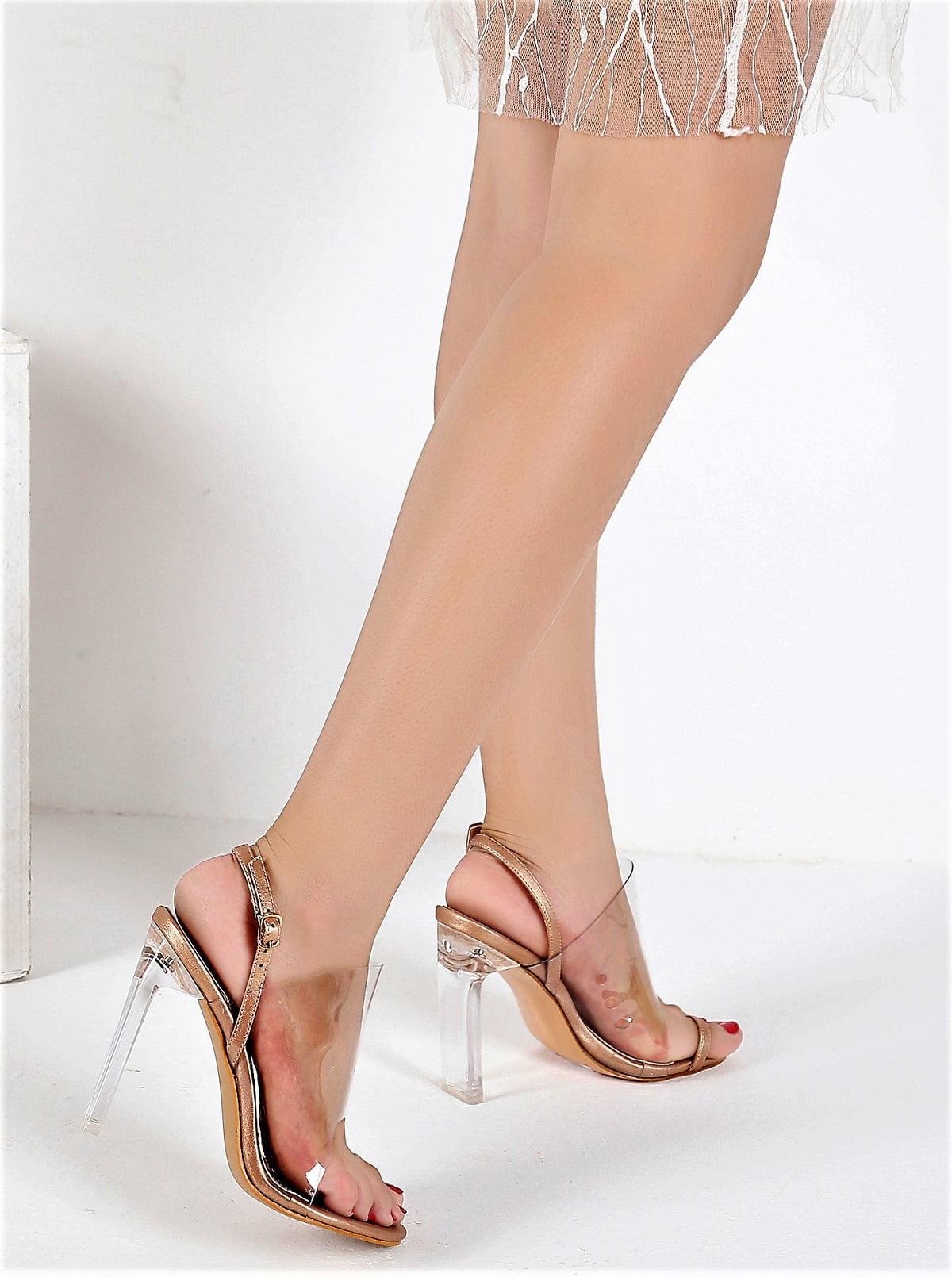 57a28cb4a705 Mackin J - 254-7 Womens Wedding Party Bridal Transparent PVC Slingback Slip  On Mules Sandals Lucite Heels Rose Gold - Walmart.com
