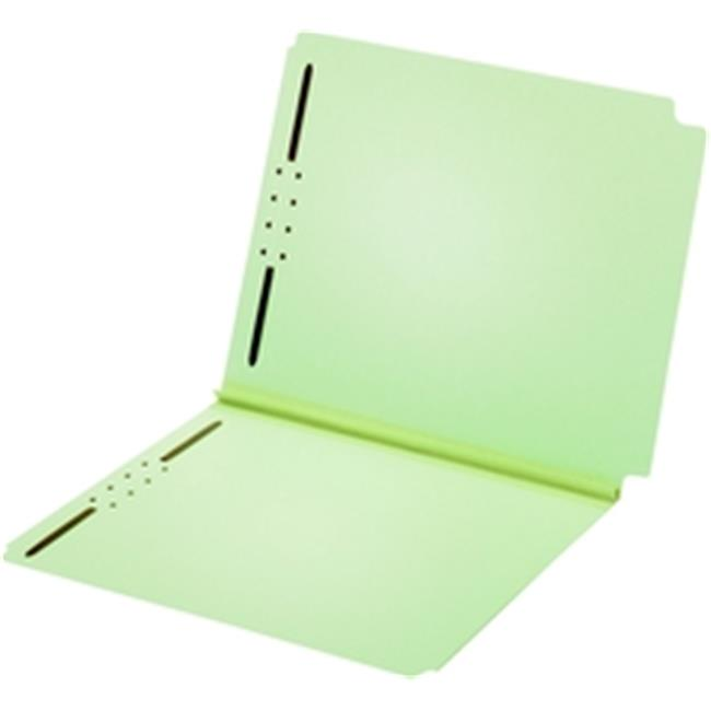 Globe-Weis 45715 Dual Tab Pressboard Folder  2 Fasteners  2 in Expansion  Letter  Light Green  25 per BX