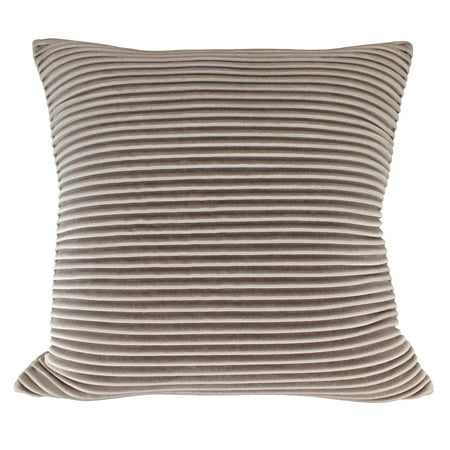 "Better Homes & Gardens Pleated Velvet Decorative Throw Pillow, 18"" x 18"", Taupe"
