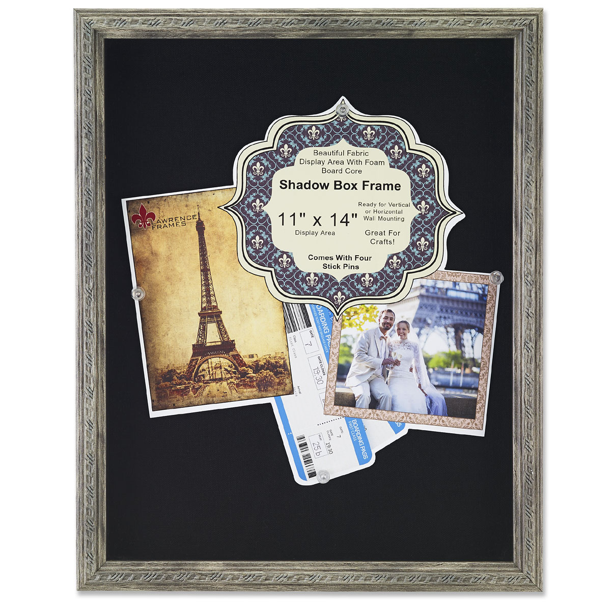 11x14 Gray Shadow Box Frame With Decorative Classic Design Black