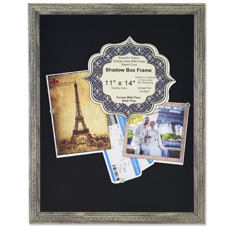 11x14 Gray Shadow Box Frame with Decorative Classic Design - Black Linen Display Area