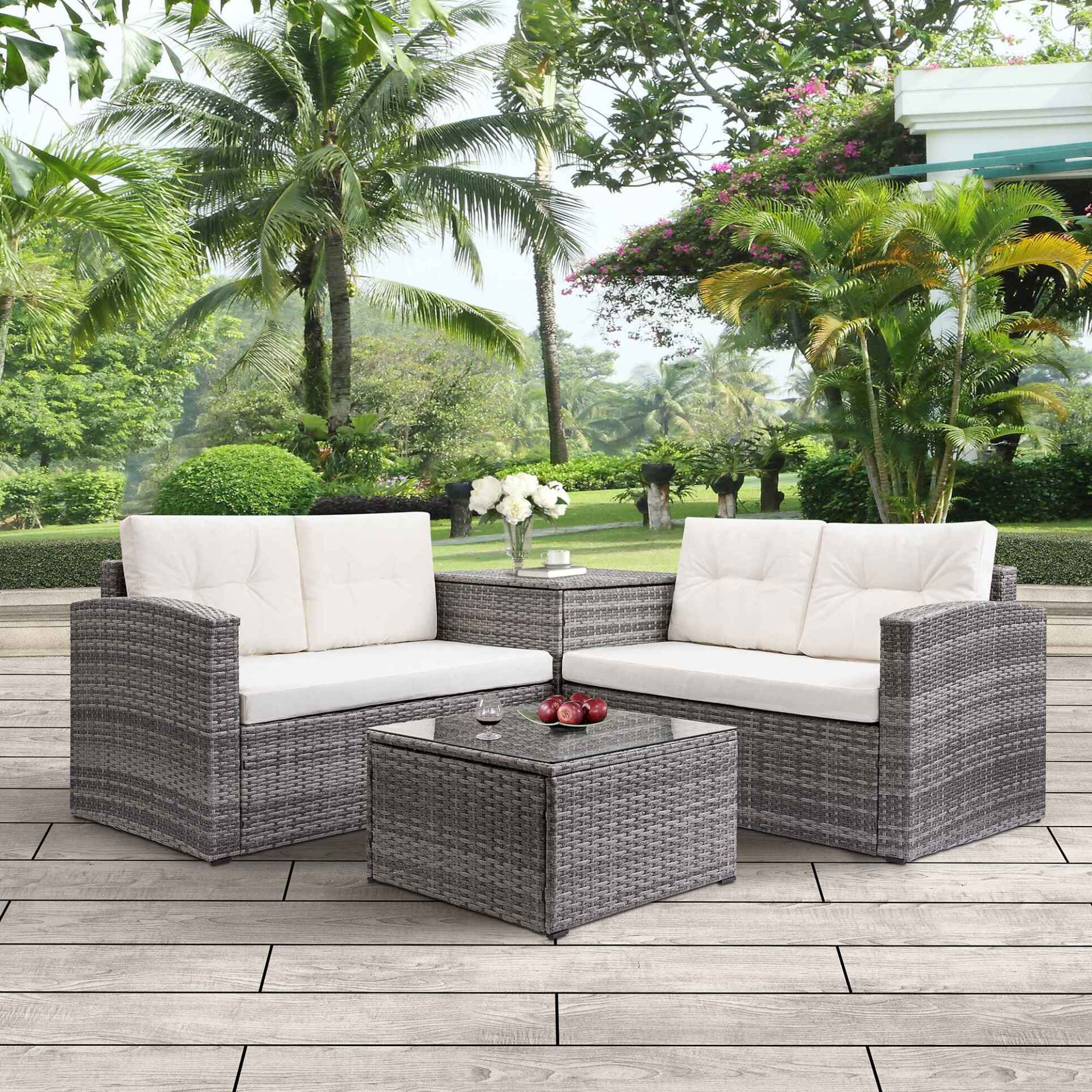 Better Homes And Gardens Replacement Cushions Azalea Ridge, Rattan Wicker Patio Furniture 4 Piece Patio Furniture Sofa Sets With Loveseat Sofa Storage Box Tempered Glass Coffee Table All Weather Patio Conversation Set With Cushions For Backyard Garden Pool Walmart Com