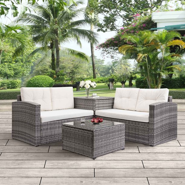 Clearance Wicker Patio Sets 4 Piece, Resin Wicker Patio Furniture Clearance