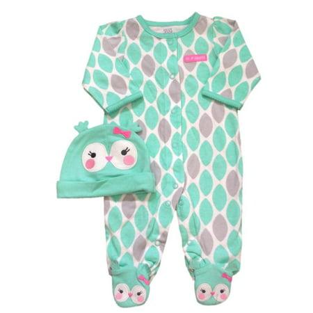 Halloween Onesies Carters (Carters Infant Girls First Halloween Outfit Green Gray Owl Sleeper Hat)