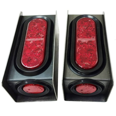 "Set of 2 Steel Trailer Light Boxes w/6"" LED Oval Tail Lights & 2"" LED Red Round Side Lights"