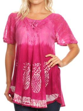 3b21a18e16c Product Image Sakkas Ivanna Womens Short Raglan Lace Sleeve Flowy Top  Blouse Tie-dye   Batik -