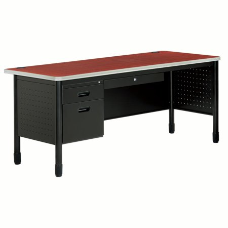 OFM Core Collection Mesa Series 3-Drawer Single Pedestal Steel Desk with Laminate Top, in Cherry (66366-CHY)
