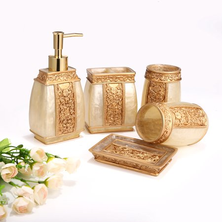 5 Piece Bathroom Accessories Set, Bathroom Set Features ,Soap Dispenser, Toothbrush Holder, Tumbler & Soap Dish,Bath Gift Set Special Today ()