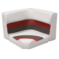 Wise 8WD133-1009 Deluxe Series Pontoon Radius Corner Lounge Seat and Backrest Cushion Set, White/Red/Charcoal