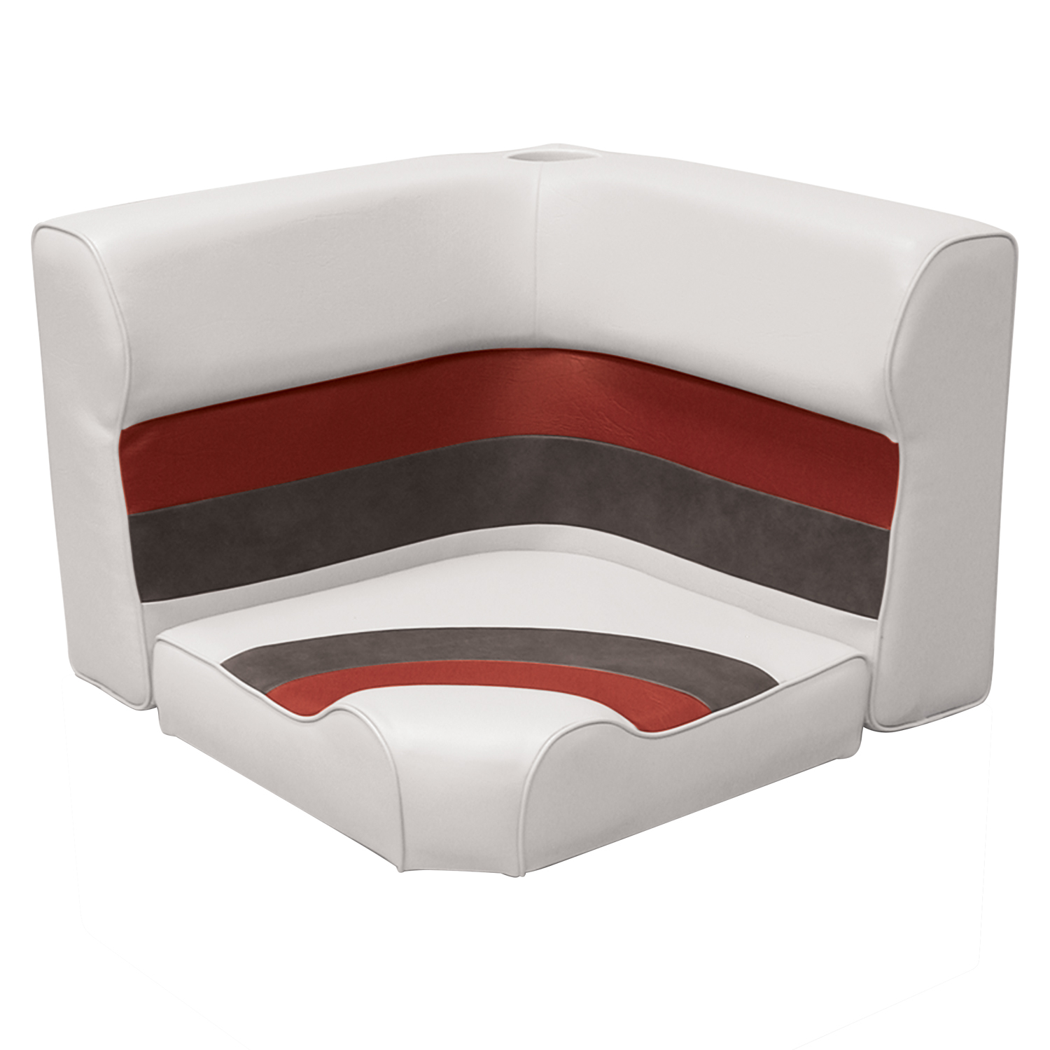 Wise 8WD133-1009 Deluxe Series Pontoon Radius Corner Lounge Seat and Backrest Cushion Set Only, Color: White/Red/Charcoal