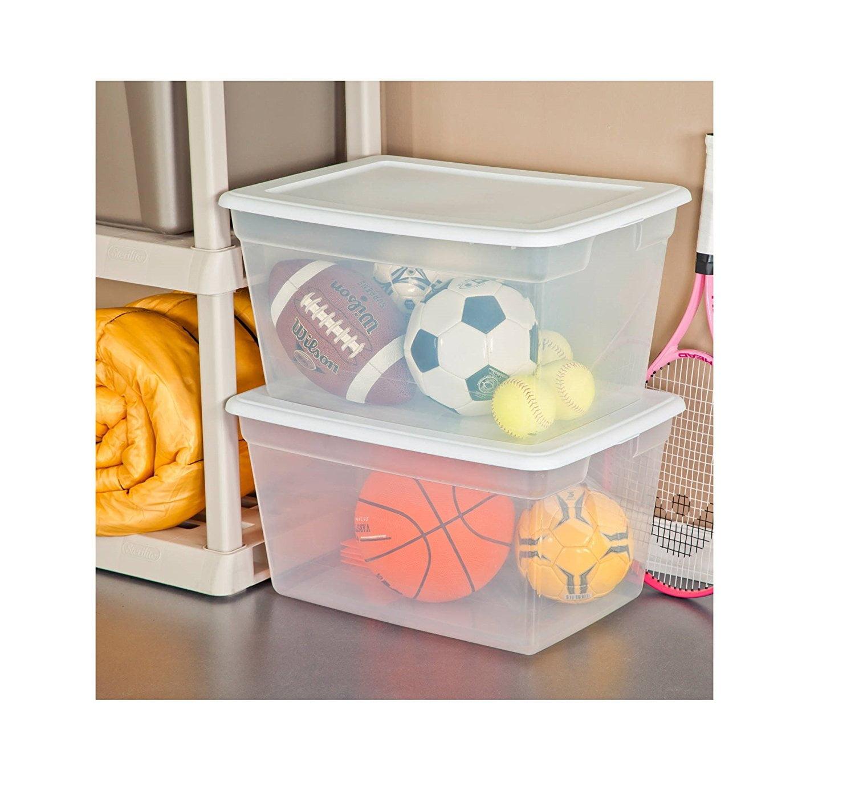 Sterilite 58 Quart See Through Plastic Storage Box with Lid White