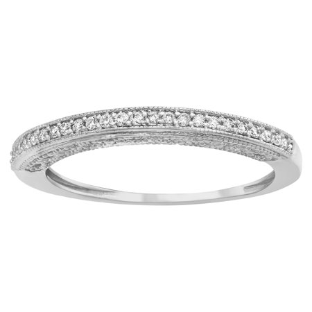 10kt White Gold 1/8ct TDW Diamonds Vintage Dome Band Ring Diamond Domed Band Ring