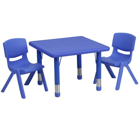 Flash Furniture 24 Square Adjustable Plastic Activity Table Set in Multiple Colors with 2 School Stack Chairs