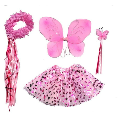 Girls Pink Butterfly Fairy Costume