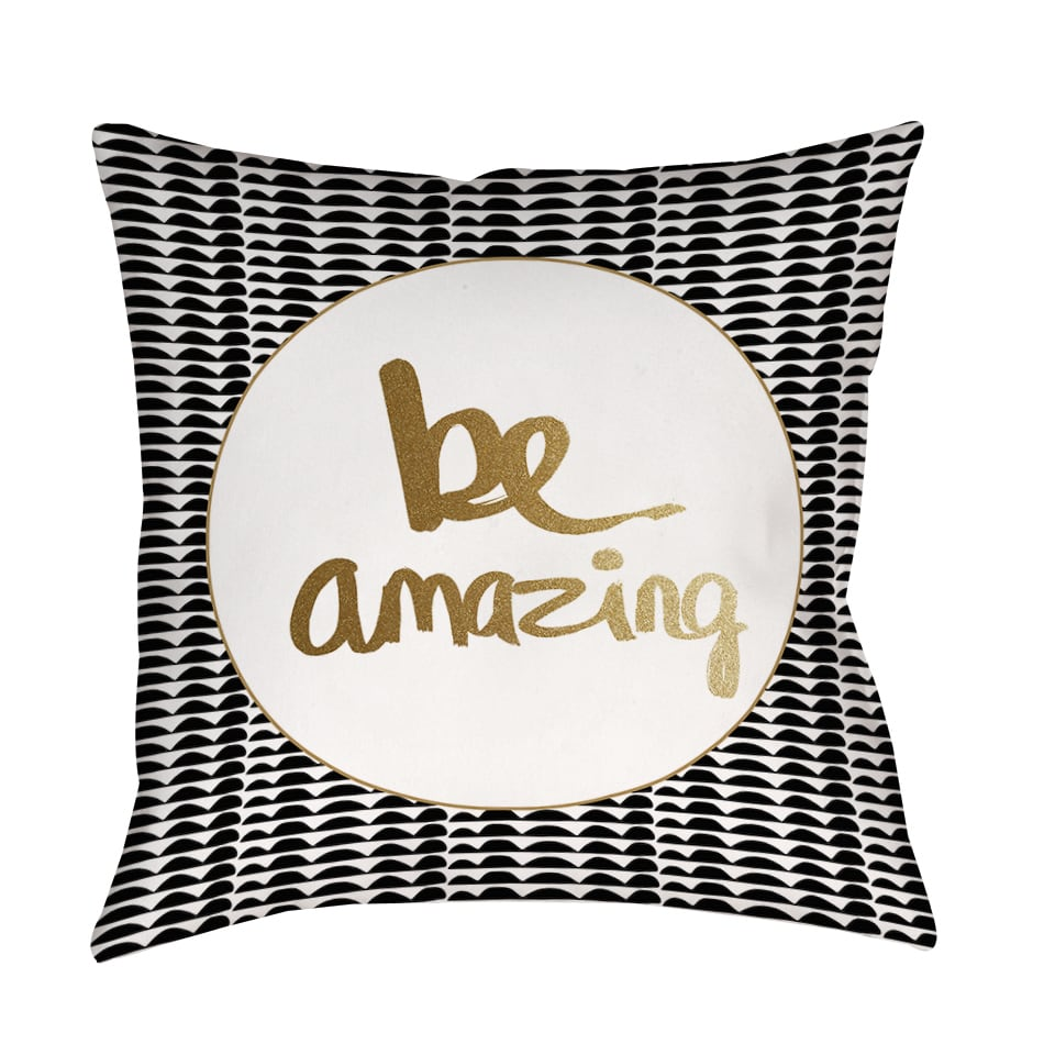 Thumbprintz  Be Amazing Black and Gold Decorative Pillow