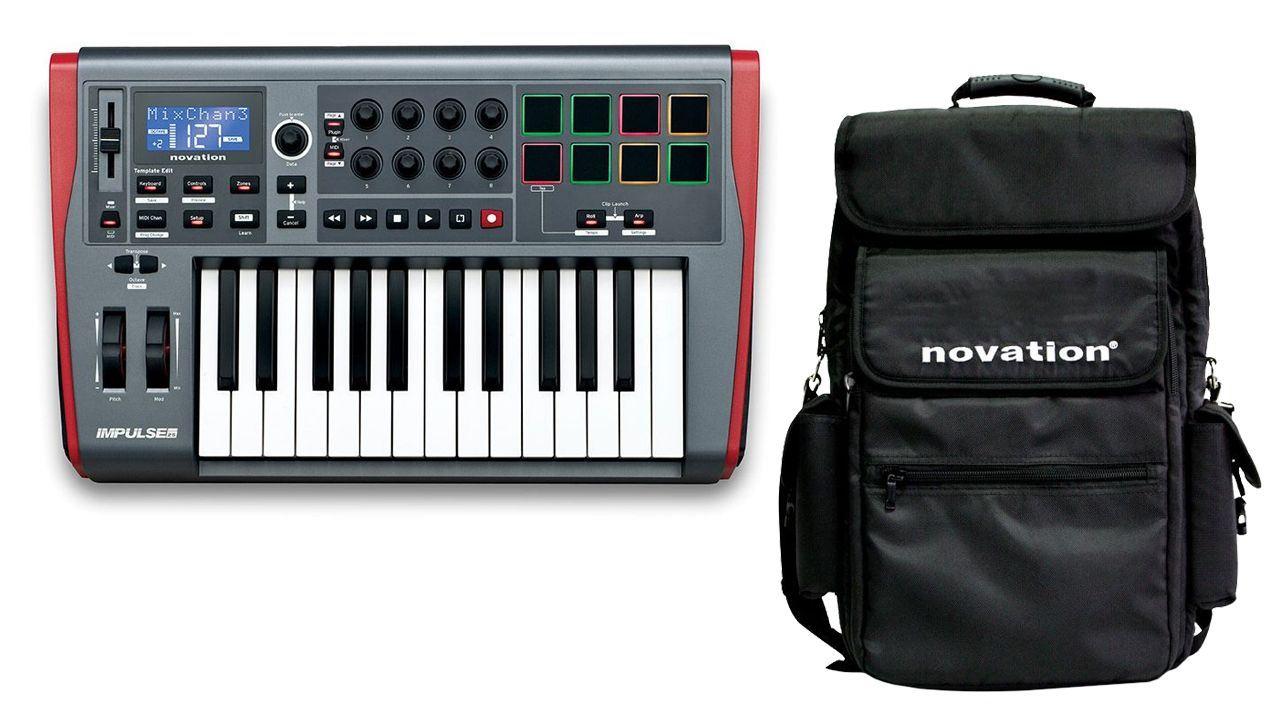 Novation Impulse 25 w  Gig Bag & Ableton Live 25-Key USB MIDI Controller by
