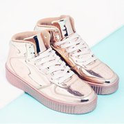 Cape Robbin polo-5 Rose gold Platform Lace Up Sneakers Booties