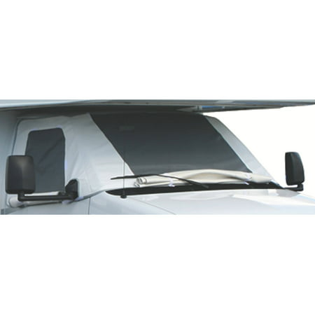 Classic Rv Windshield Cover (ADCO Class C Deluxe Windshield Cover with Roll-Up Windows for RV, White )